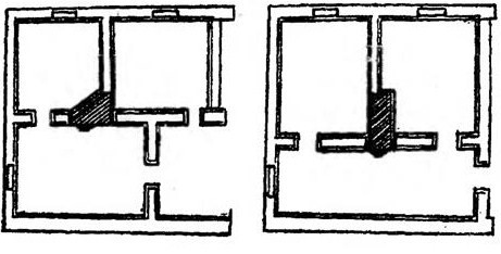 Оптимальное размещение печи в трехкомнатной квартире