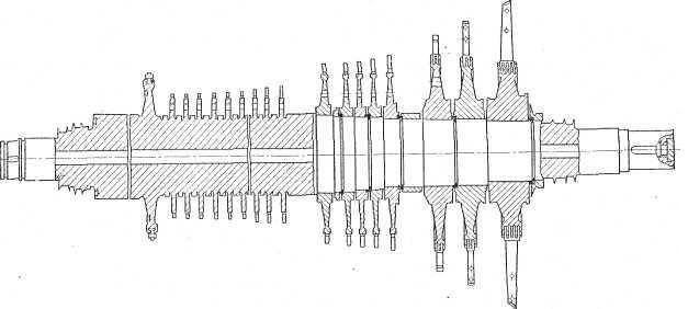 Ротор турбины 25 Мет с двумя отборами пара Уральского турбо-моторного завода (УТМЗ)