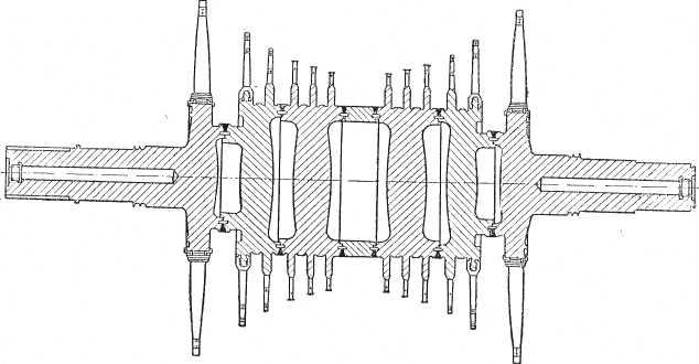 Схема ротора цндтурбины К-150-130 ХТГЗ
