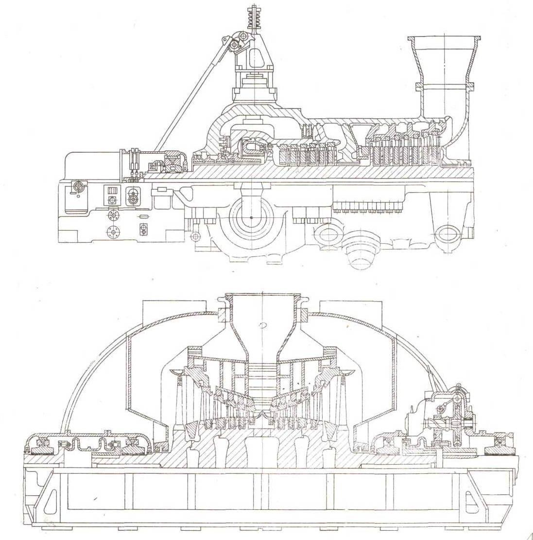 Общая конструкция и схема паровой турбины