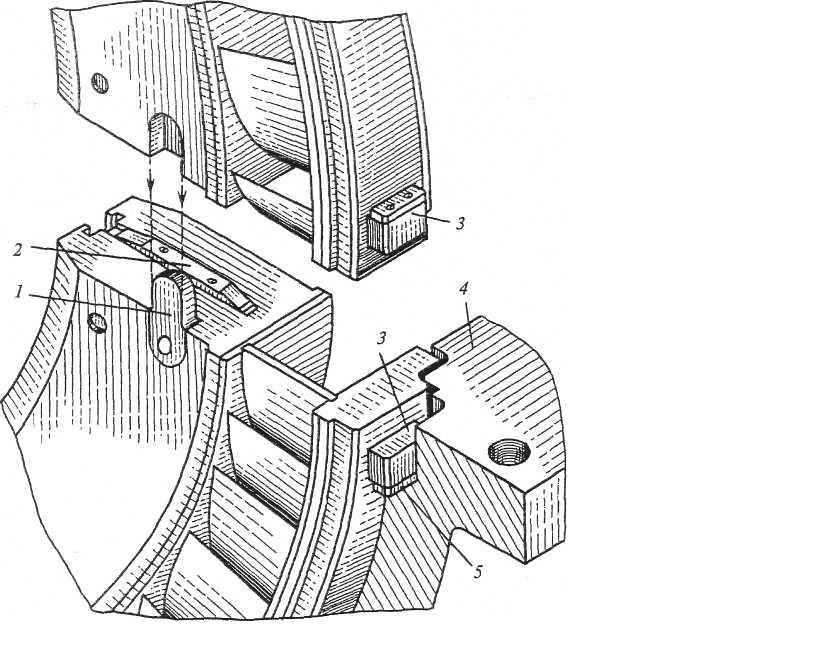 Взаимная фиксация половин диафрагмы турбины