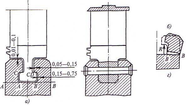 Схема рабочей лопатки турбины с Т-образным хвостовиком