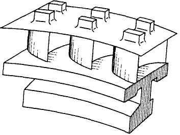 Сварной пакет из трех лопаток для регулирующей ступени