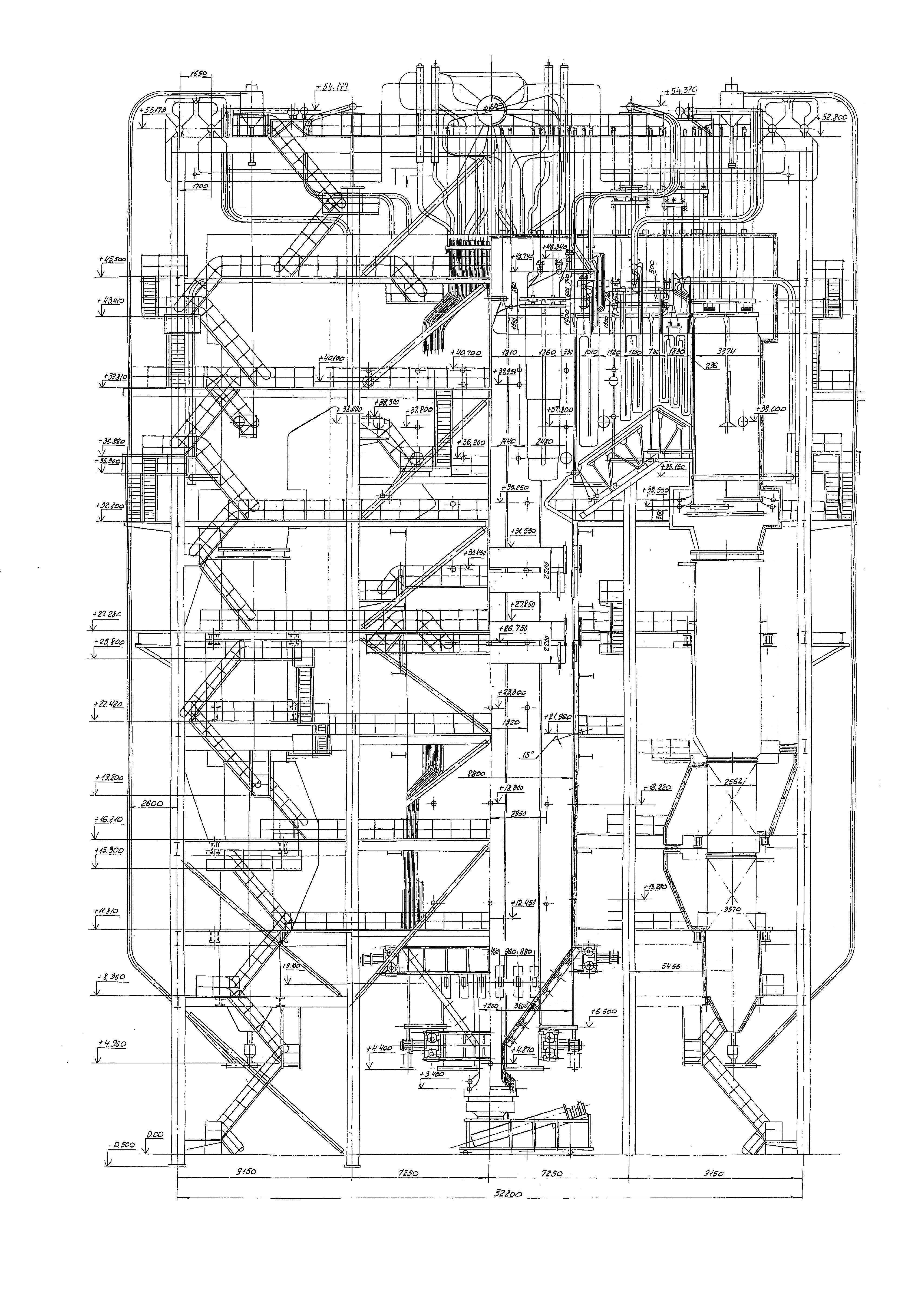 Чертежи и схемы парового котла в разрезе в трех проекциях